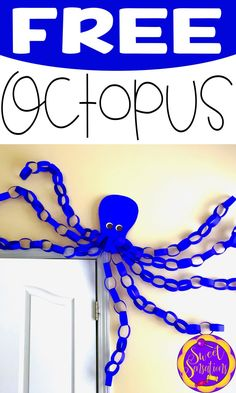 Free step-by-step Octopus tutorial with templates. Perfect for your ocean or pir. Free step-by-step Octopus tutorial with templates. Perfect for your ocean or pirate themed decor. Beach Themed Crafts, Ocean Crafts, Water Themed Crafts, Seashell Crafts, Beach Crafts, Octopus Crafts, Octopus Octopus, Under The Sea Theme, Under The Sea Party