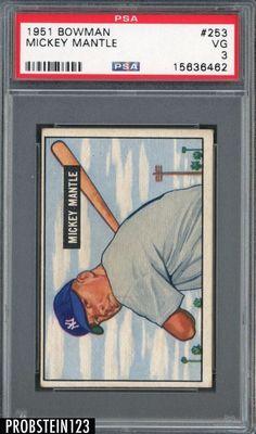 1951 Bowman 253 Mickey Mantle HOF New York Yankees RC Rookie PSA 3 VG #mickeymantle #yankees #rookiecard #baseballcards #sportscards