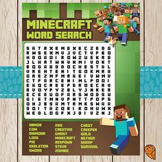 Printable Minecraft Word Search Game  by BrightOwlCreatives, $3.00