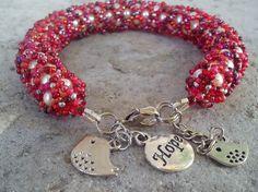 Bracelet, handmade, red glass Preciosa Czech seed beads and white Czech pearl beads (107).