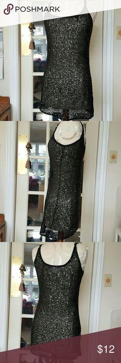 Black xl sequins party little dress tunic top mini Euc adj straps unlined imaginary voyage Tops Blouses