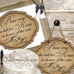 WEDDING Mr Mrs Ring Bells For Kisses SIGN Decoration Printable Burlap Design pw 647