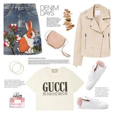"""Happy Easter!"" by martinabb ❤ liked on Polyvore featuring Gucci, MANGO, Minna Parikka, Christian Dior, Laura Mercier and denimskirts"