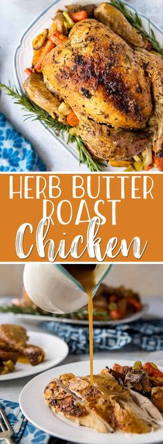 Juicy Herb Butter Oven Roasted Chicken – The Best Chicken Recipes is Here Whole Chicken Recipes Oven, Oven Roasted Whole Chicken, Lemon Roasted Chicken, Roast Chicken Recipes, Oven Recipes, Roast Chicken Lemon Rosemary, Whole Roast Chicken Recipe, Kitchen Recipes, Roast Chicken Marinade