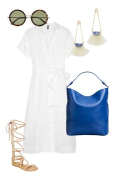 One Bag, Five Looks: Nude gladiators, tortoise-shell sunnies and a white sundress perfectly offset the bright, playful blue of the Shinola #Regatta #Hobo.