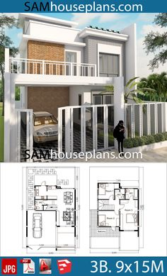 House Plans with 3 Bedrooms - Sam House Plans House Layout Plans, Modern House Plans, House Layouts, 3d Home Design, Deck Design, House Design, 30x50 House Plans, Garden Living, Bedroom House Plans