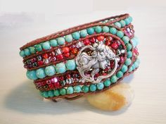 Turquoise Jewelry Cuff Leather Bracelet Red and by RopesofPearls