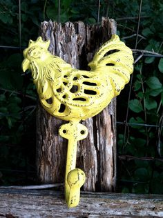 Yellow Rooster Wall Hook / Cast Iron Hook / Vintage Kitchen / Country Kitchen. $10.00, via Etsy.