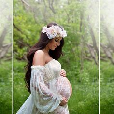 custom flower crown by Jovan Jane for a maternity photo shoot