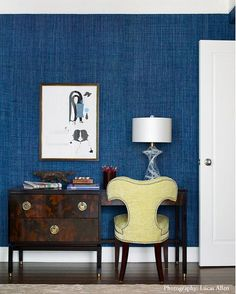 can we talk about this color blue and the grasscloth texture and the print and the chair and the desk hardware, but not so much the desk, or the lamp. (or that skulky panther statue)