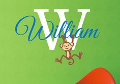Monkey Boys Personalized Name Vinyl Wall Decal  by LCvinyldesigns, $27.00