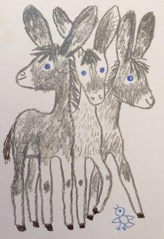 Reich Károly: Three donkies, chalk (Három csacsi, Kréta) by BI