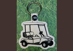 Golf Cart Key Fob - Machine Embroidery Pattern - Whimsy Embroidery