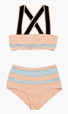 This sportswear-inspired style is made pretty with sheer mesh striping and a subtle sorbet hue. High-waisted bikini bottoms and a criss-cross back stay true to an athletic form.