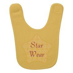 Cute Bright Yellow Patterned Baby Star Wear Bib