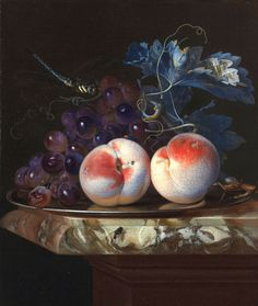 Willem van Aelst - Title: A still life with two peaches and bunch of grapes - Original Size: 32,3 x 27,5 cm - Date: 1664 - Buy this painting as premium quality canvas art print from Modarty Art Gallery. #art, #canvas, #design, #painting, #print, #poster, #decoration