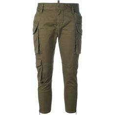 Dsquared2 skinny cropped cargo pants (78.695 RUB) ❤ liked on Polyvore featuring pants, capris, bottoms, green, cropped pants, brown crop pants, cropped capri pants, green pants and cropped trousers