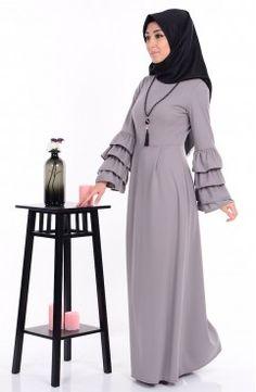 Sefamerve, Kolu Fırfırlı Kolyeli Elbise 0104-04 Gri