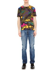 Camo-Print Crewneck Tee & Chino-Fit Straight Denim Jeans by Valentino at Neiman Marcus.