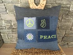 Hippie Pillow , Denim Toss Pillow , Denim Throw Pillow , Hippie Decor , Denim Sham Pillow , Peace Pillow , Denim Boho Pillow , Peace Sign by SecondBirthday on Etsy