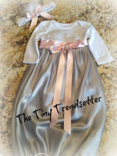 Baby Girl Take Home Gown with Matching Head by TheTinyTrendsetter