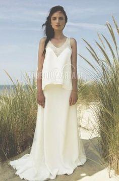 Magnifique robe de mariée enceinte col en v empire chiffon 154€