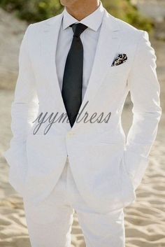 White Wedding Suits Slim Fit Groom Tuxedos One Buttons 2 Pieces Men Suits For Formal Prom Wear (Jacket Pants Tie) - Man Fashion White Wedding Suits For Men, Linen Wedding Suit, Mens White Suit, White Tuxedo Wedding, White Linen Suit, Best Wedding Suits, Wedding Tuxedos, Wedding Wear, Groom Tuxedo