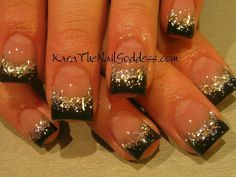 Black and silver New Years Nail Designs, New Nail Designs 2017, Acrylic Nail Designs, Black And White Nail Designs, Black Sparkle Nails, Sparkly French Manicure, White Nails, Fancy Nails, Glitter Nails