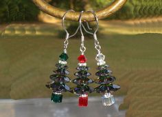 Christmas Tree Crystal Vitrail Green Red Earrings Made with Swarovski Elements