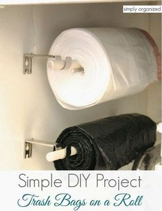 DIY trash bags on a roll mounting project. Love this idea for inside my pantry. Now I can free up that drawer in the kitchen!