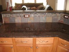kitchen backsplashes with granite countertops | Tan Brown granite shown with Muli-Smooth Rectangle tiles with tan ...
