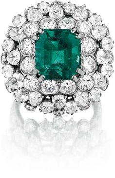 DAVID WEBB, An Emerald and Diamond Ring