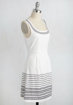Ketch My Drift? Dress. This white dress appears to be casually elegant ensemble for an outdoor fete. #white #modcloth