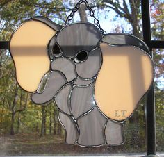 LT Stained glass Elephant sun catcher light catcher big pink