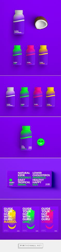 Branding, graphic design and packaging for Guru on Behance by Daniel Barkle Bath, UK curated by Packaging Diva PD. Design and execution of the brand adopts a mix of literal and abstract connotations Medical Packaging, Juice Packaging, Cool Packaging, Beverage Packaging, Bottle Packaging, Design Packaging, Best Logo Design, Graphic Design, Catalog Design