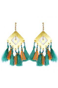 Aretes Rombo borlas turquesa naranja - Maxi Earrings with tassels by Alejandra Valdivieso
