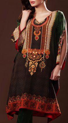 Buy Black/Green Digital Printed Silk Kurti by GulAhmed 2016