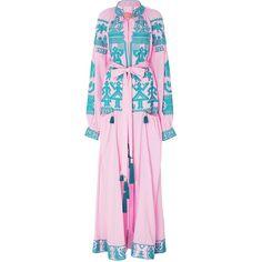 Swan Linen Maxi Dress | Moda Operandi (12,820 CNY) ❤ liked on Polyvore featuring dresses, maxi dresses, pink maxi dress, mock neck dress, a line maxi dress and a line dress