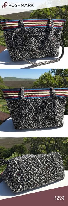 "Vera Bradley Barcelona Miller Bag Tote Large Great size for anything, carry-on, etc.  One of my favorites. 23"" across at top, 13"" tall, 8"" wide.  Slight wear. Vera Bradley Bags Totes"
