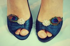 Peacock Feather Shoe Clips, Clip On Earrings, Bridal Shoes
