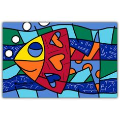 PAMESA BY BRITTO | HAPPY FISH | CERAMIC Pamesa by BRITTO is an exclusive line of ceramic tiles featuring the vibrant and colorful illustrations of world renowned artist Romero Britto. BRITTO Happy Fish available in 34 CM by 50 CM tiles. #ParmesaByBritto #Britto #MOTW