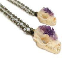 Bat Skull Necklace Animal Skull Taxidermy by KristenJarvisART