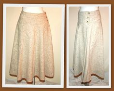 L'Aiglon Vintage 1980's Oatmeal Flecked Boucle Wool Full Circle Skirt Made in Italy