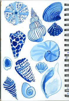 7.30.15_s Bd Art, Shell Drawing, Shell Art, Ocean Art, Beach Art, Art Sketchbook, Art Inspo, Watercolor Paintings, Watercolors
