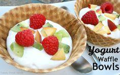 Fruity Waffle Bowls.  EASY breakfast, dessert or snack!