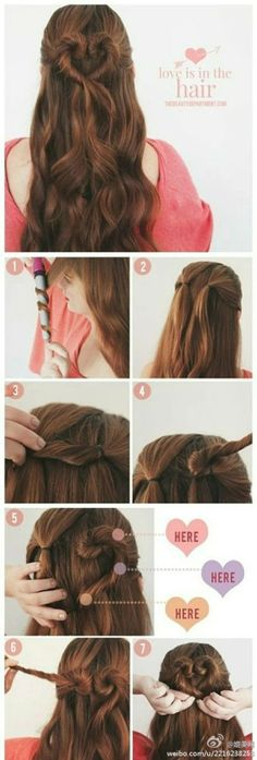 Hair tutorial | easy | how to | braided half up| heart shape | curl