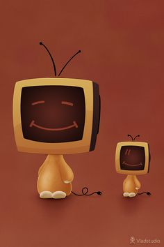 Toy Computers Object Heads, Tv Head, Box Tv, Whimsical Art, Drawings, Inspiration, Iphone Wallpapers, Computers, Aesthetics
