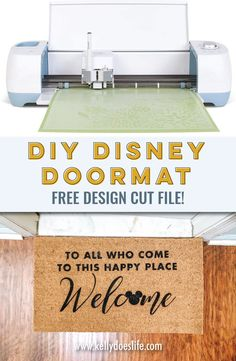 Learn how to make your own DIY doormat using your Cricut! Disney Doormat design file included free with the tutorial. Disney Home, Disney Tips, Disney Parks, Walt Disney, Disney Doormat, Cricut Mat, Stencil Vinyl, Disney World Planning, Disney Crafts