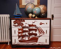 Project Nursery - 16 discovery adventure toddler bedroom - reverse stencil dresser 2