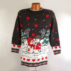 Ugly Christmas Sweater Vintage Snowmen Love  by purevintageclothing